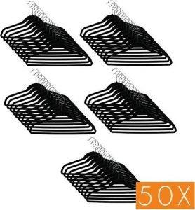 50x Kledinghangers velvet zwart