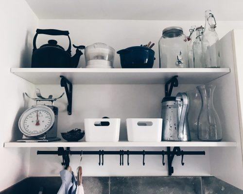 Het resultaat na het opruimen en organizen van de bijkeuken.